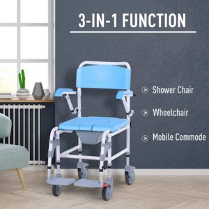 HOMCOM Accessibility Commode Wheelchair  reviews and user guide